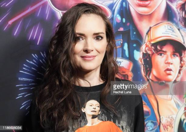 """Winona Ryder attends a photocall for Netflix's """"Stranger Things"""" Season 3 at Linwood Dunn Theater at the Pickford Center for Motion Study on November..."""