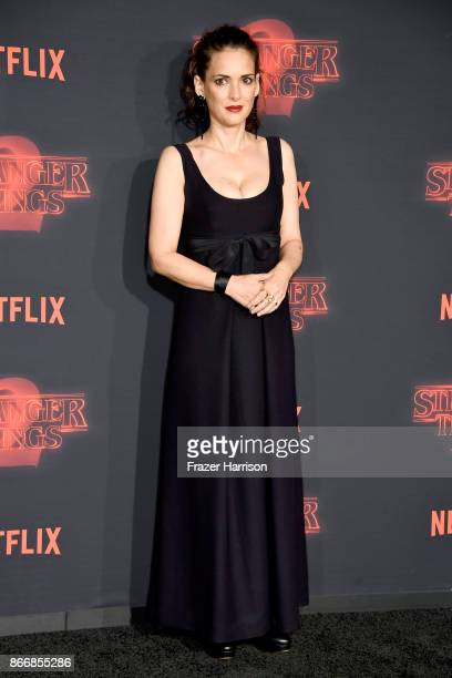 Winona Ryder attends the premiere of Netflix's Stranger Things Season 2 at Regency Bruin Theatre on October 26 2017 in Los Angeles California