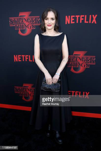"Winona Ryder attends the ""Stranger Things"" Season 3 World Premiere on June 28, 2019 in Santa Monica, California."
