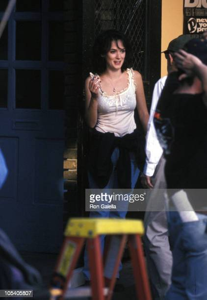 Winona Ryder during On The Set of Woody Allen's 'Celebrity' September 6 1997 at The Stanhope Hotel in New York New York United States