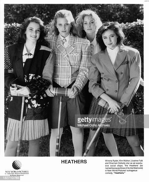 Winona Ryder Kim Walker Lisanne Falk and Shannen Doherty are members of an exclusive social clique in a scene from the film 'Heathers' 1988