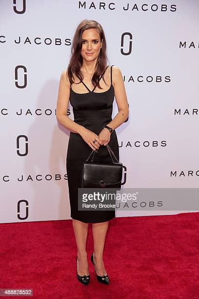 Winona Ryder poses on the red carpet before the Marc Jacobs Runway Spring 2016 New York Fashion Week The Shows at Ziegfeld Theater on September 17...