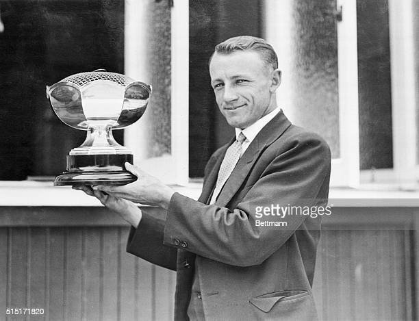 Wins Cup for World Record Cricket Score Sydney Australia Don Bradman star player of the Australian Test Cricket Team who was presented with a silver...