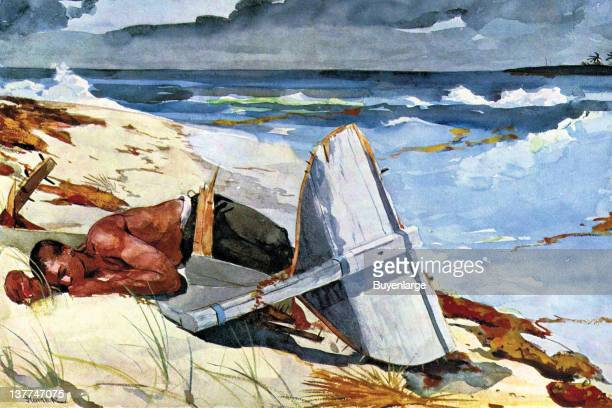 Winslow Homer's A bare chested man lies face down on the beach beside a wrecked boat on the sand 1865