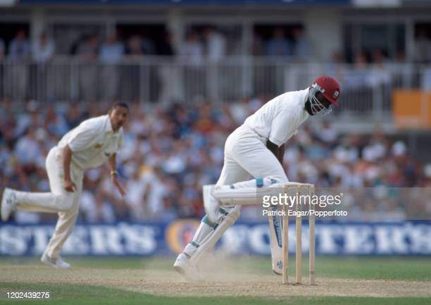 Winston Benjamin of West Indies digs out a yorker from England bowler Phillip DeFreitas during the 2nd Texaco Trophy One Day International between...