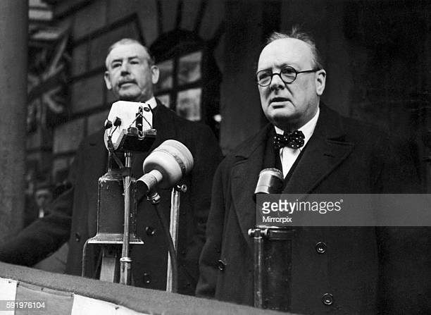 Winston Churchill addresses a recruiting meeting at the Mansion House London during the buildup to the outbreak of the Second World War 24th April...