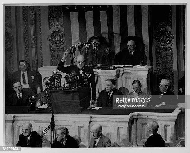 Winston Churchill addresses a special joint session of Congress on May 19 1943