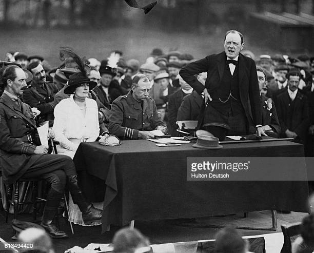 Winston Churchill Addressing Members of Military