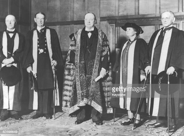 Winston Churchill after his installation as Chancellor of Bristol University 13th December 1929