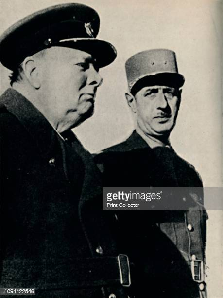 Winston Churchill and General De Gaulle', June 1940, . British Prime Minister Winston Churchill inspecting troops with General Charles De Gaulle ,...