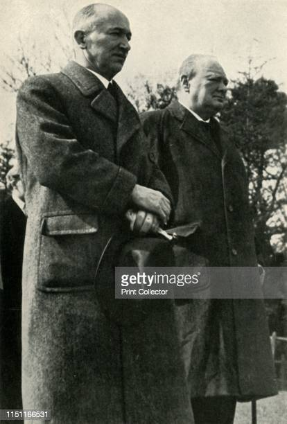 Winston Churchill and President Benes' circa 1940s Benes and Churchill at a review of the Czechoslovak Brigade Britain Edvard Benes was President of...