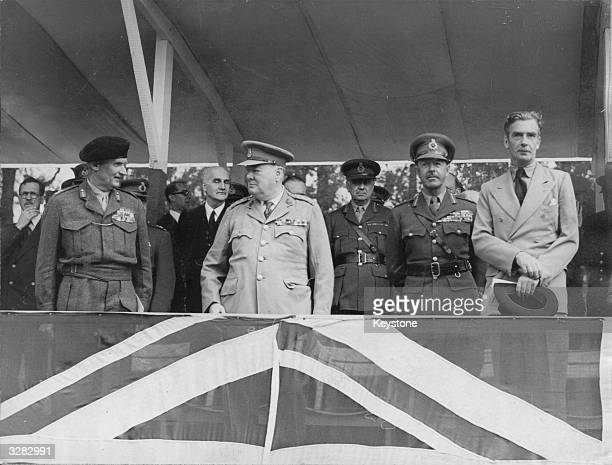 Winston Churchill at a Victory Parade in Berlin with Field Marshal Montgomery and Field Marshal Alexander 21st July 1945