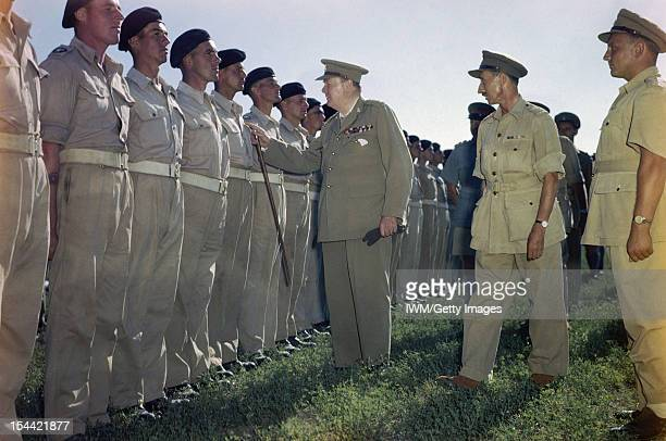 Winston Churchill At Loreto Aerodrome In Italy, 25 August 1944, The Prime Minister, the Rt Hon Winston Churchill, MP, inspecting the ranks of the 4th...
