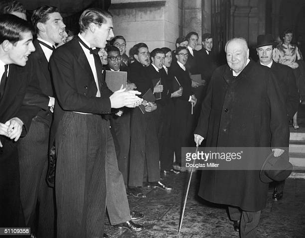 Winston Churchill attends an annual singsong at Harrow School of which he is an Old Boy 27th November 1958