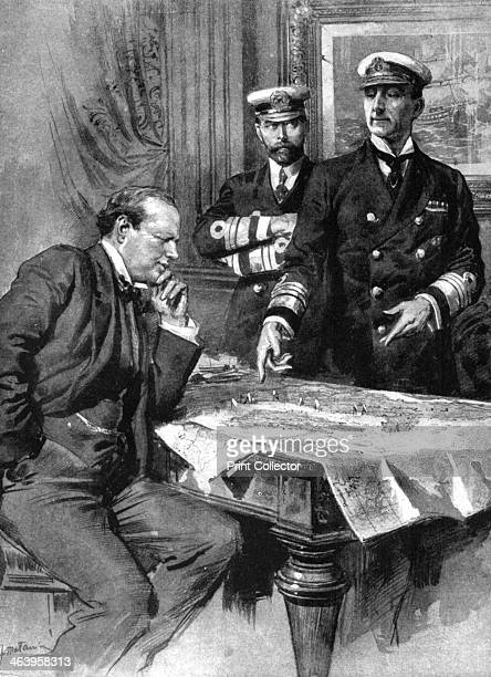 Winston Churchill Charles Madden and Sir John Jellicoe First World War 1914 Churchill First Lord of the Admiralty Madden CommanderinChief of the...