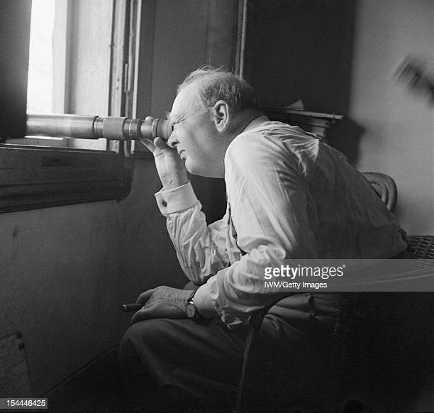 Winston Churchill During The Second World War In Italy The Prime Minister Winston Churchill watches an assault against enemy positions north of...