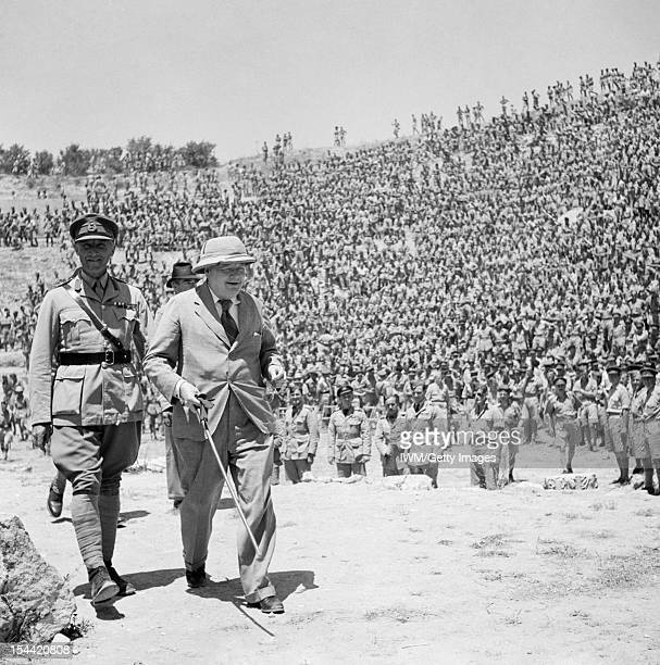 Winston Churchill During The Second World War In North Africa The Prime Minister Winston Churchill leaves the old Roman amphitheatre at Carthage...