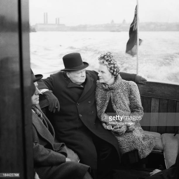Winston Churchill During The Second World War In The United Kingdom The Prime Minister Winston Churchill and his wife Clementine sit on board a naval...