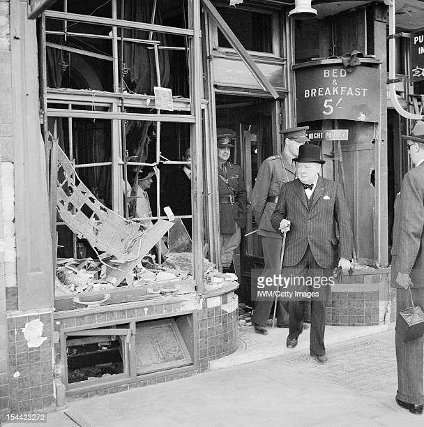 Winston Churchill During The Second World War In The United Kingdom The Prime Minister Winston Churchill inspects bomb damage caused by Luftwaffe...