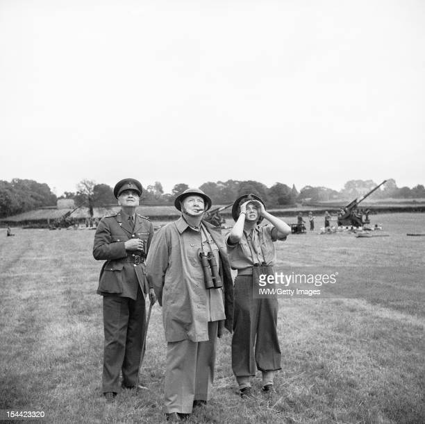 Winston Churchill During The Second World War In The United Kingdom Winston Churchill his daughter Mary and General Sir Frederick Pile watch a...