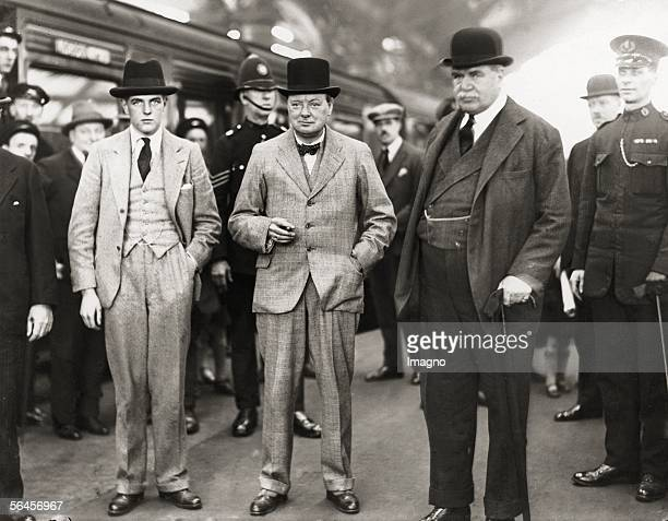 Winston Churchill , English politician with his son Randolph and Lord Derby on an election rally for the Conservative Party in Liverpool....