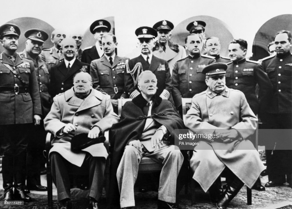 Winston Churchill Franklin D Roosevelt And Josef Stalin With Their