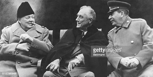 Winston Churchill Franklin Roosevelt and Joseph Stalin together after negotiations at the Yalta Conference of 1945 At the conference the three...