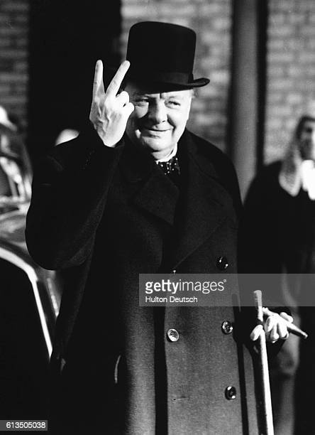 Winston Churchill gives Victory Sign At Mansion House during Lord Mayor's Show Day November 1942