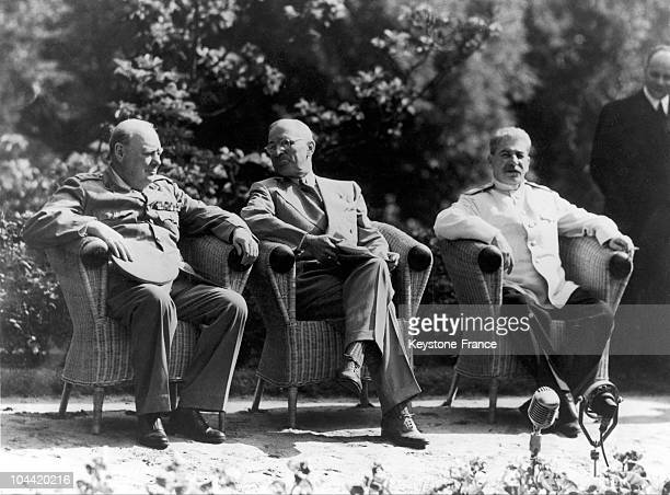 Winston Churchill Harry Truman And Josef Stalin Together In The Garden Of The Palace Of Potsdam In Order To Communicate To The Press The Agreements...