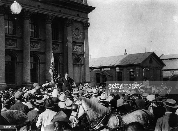 Winston Churchill in the town square Durban after his escape from the Boers addresses a crowd