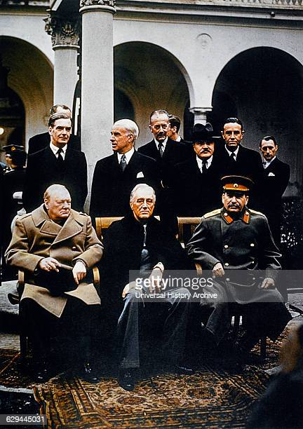 Winston Churchill Joseph Stalin Franklin Roosevelt at the Yalta Conference 1945