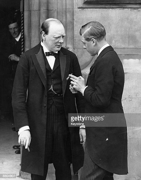 Winston Churchill left and the Prince of Wales talking after a luncheon party at the House of Commons for US airmen who flew the Atlantic