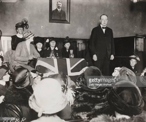Winston Churchill makes a speech Wanstead 10 October 1924 Winston Churchill making a speech to women at the Cambridge Hall Wanstead Churchill became...