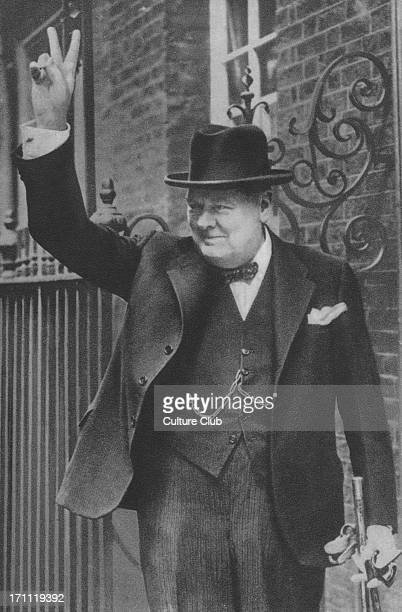 Winston Churchill - portrait of the British politician and Prime Minister making the victory gesture outside of 10 Downing Street in June 1943. 30...