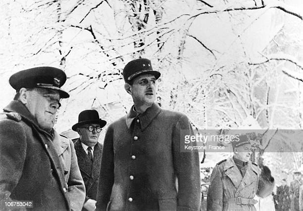 Winston Churchill Prime Minister Of The United Kingdom Meeting General Charles De Gaulle On November 13Th 1944