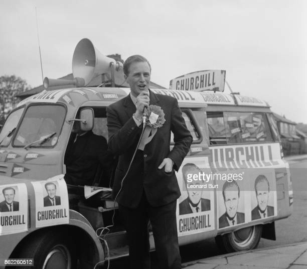 Winston Churchill , the son of Randolph Churchill and grandson of Sir Winston Churchill, electioneering as the Conservative candidate in the...