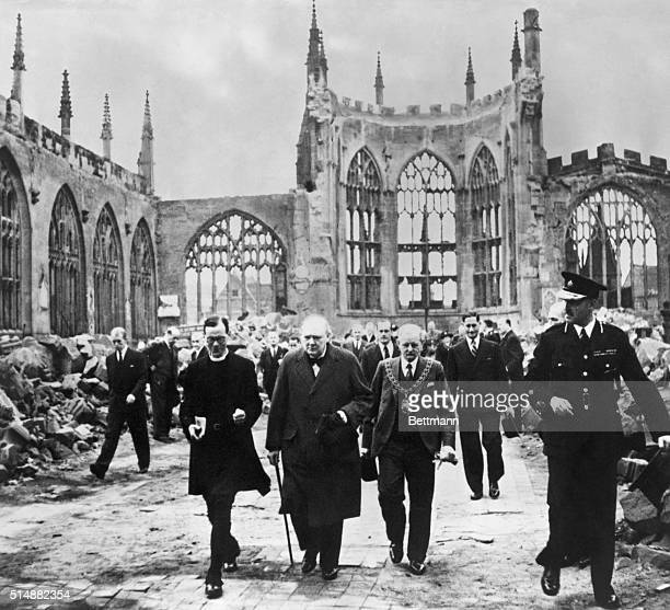 Winston Churchill visiting Coventry Cathedral after the blitz