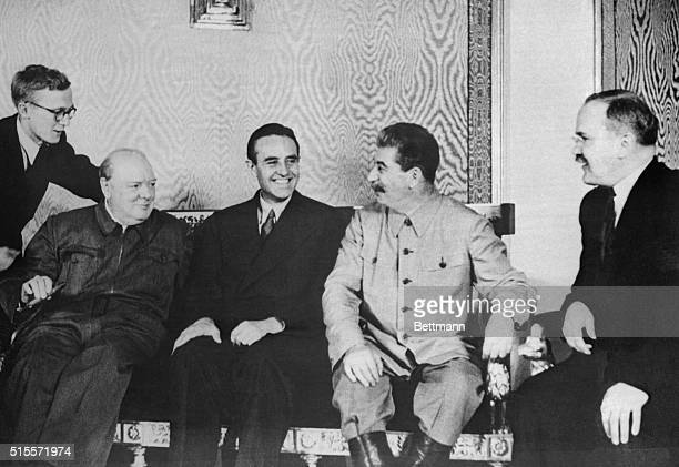 Winston Churchill, W. Averell Harriman, Joseph Stalin, and V.M. Molotov , at the Kremlin during Churchill's visit in August of 1942.