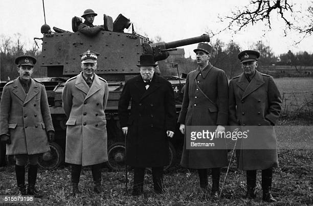 Winston Churchill with Charles De Gaulle and General Sikorski Photographed in front of a tank