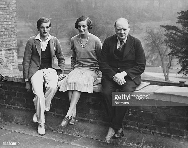 Winston Churchill , with his son Randolph and his daughter Diana, 1929.