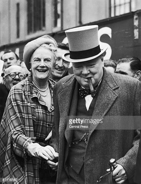 Winston Churchill with his wife Clementine at Epsom racecourse for the Derby 4th June 1949