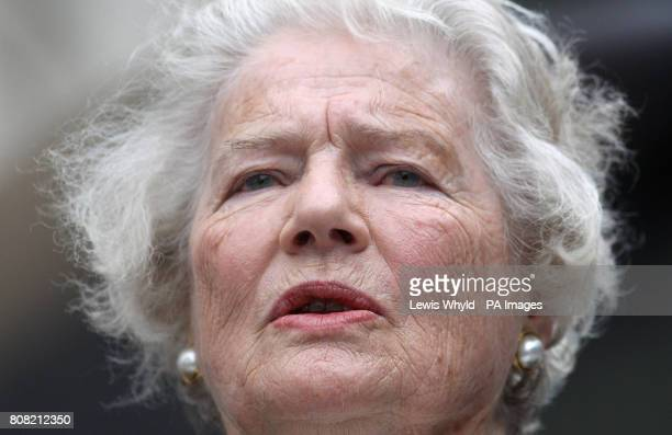 Winston Churchill's daughter, Lady Soames speaks outside the Churchill War Rooms in central London where Robert Hardy read Winston Churchill's 'The...