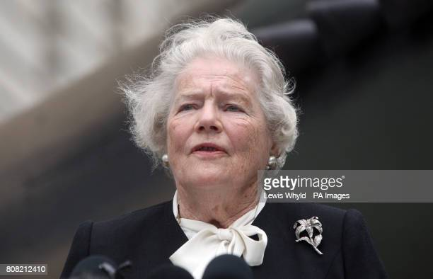 Winston Churchill's daughter Lady Soames speaks outside the Churchill War Rooms in central London where Robert Hardy read Winston Churchill's 'The...