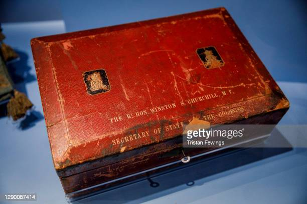 """Winston Churchill's Despatch Box goes on view during the """"Bags: Inside Out"""" press view at Victoria and Albert Museum on December 08, 2020 in London,..."""