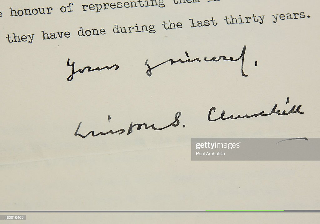 Winston Churchill's resignation letter (Page-2) to be auctioned off by Nate D. Sanders Auctions is seen on March 25, 2014 in Los Angeles, California.