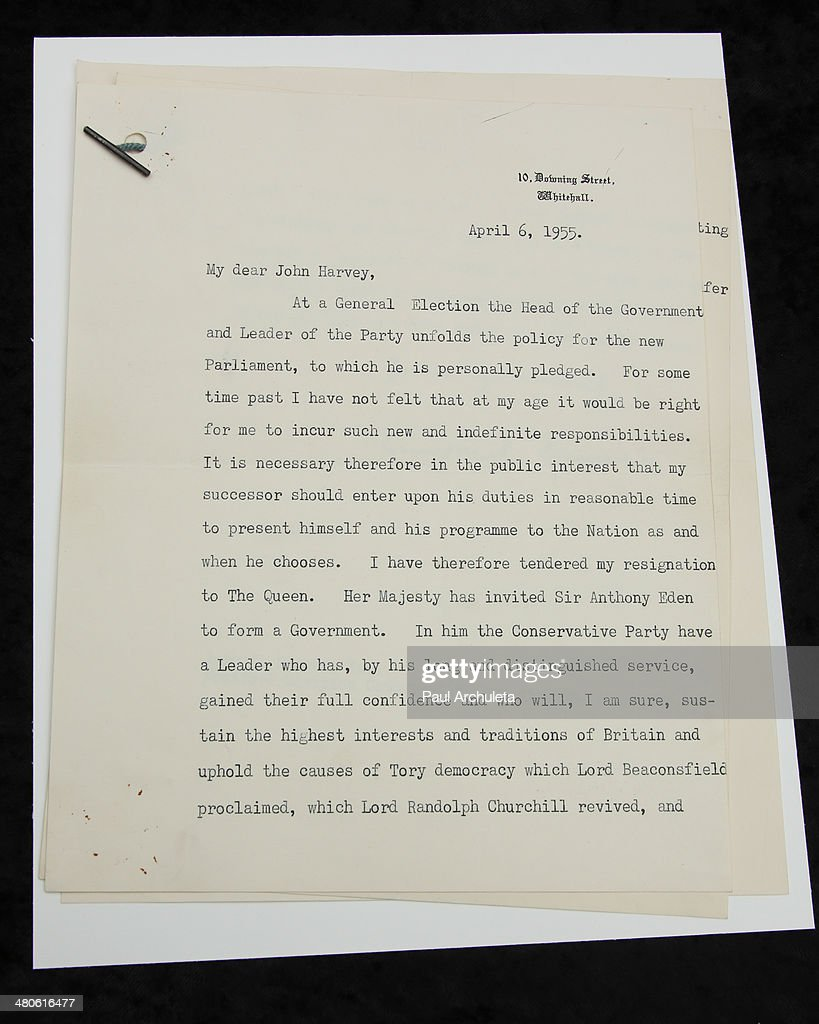 Winston Churchill's resignation letter (Page-1) to be auctioned off by Nate D. Sanders Auctions is seen on March 25, 2014 in Los Angeles, California.