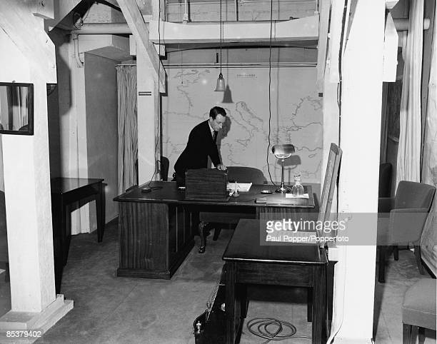 Winston Churchill's study in the Cabinet War Rooms beneath Whitehall in London, 17th March 1948. It was from this room that Churchill broadcast most...