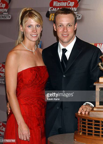 Winston Cup Champion, Matt Kenseth and wife Katie pose with the Championship trophy