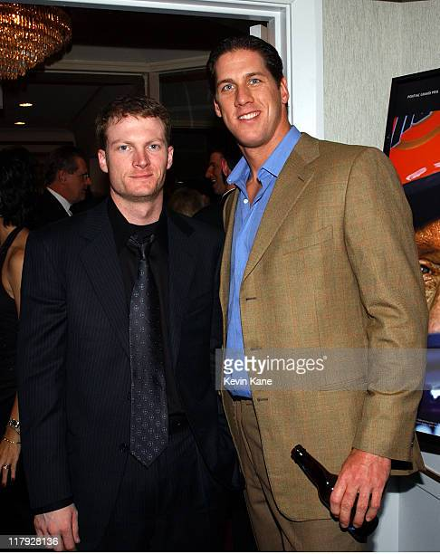 Winston Cup driver Dale Earnhardt Jr poses with Major League pitcher John Rocker