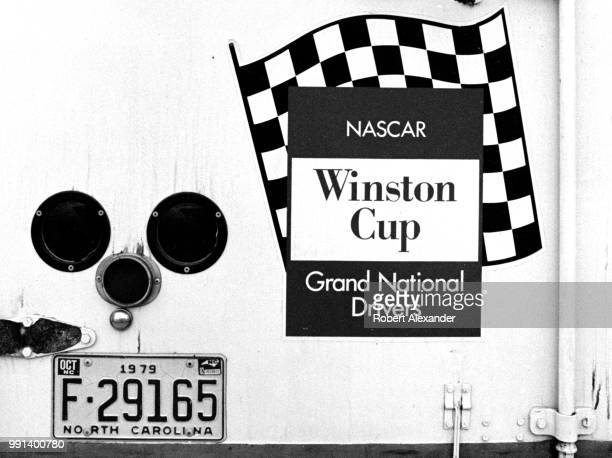 Winston Cup Grand National logo is painted on the back of a racecar hauler parked at Daytona International Speedway during the running of the Daytona...